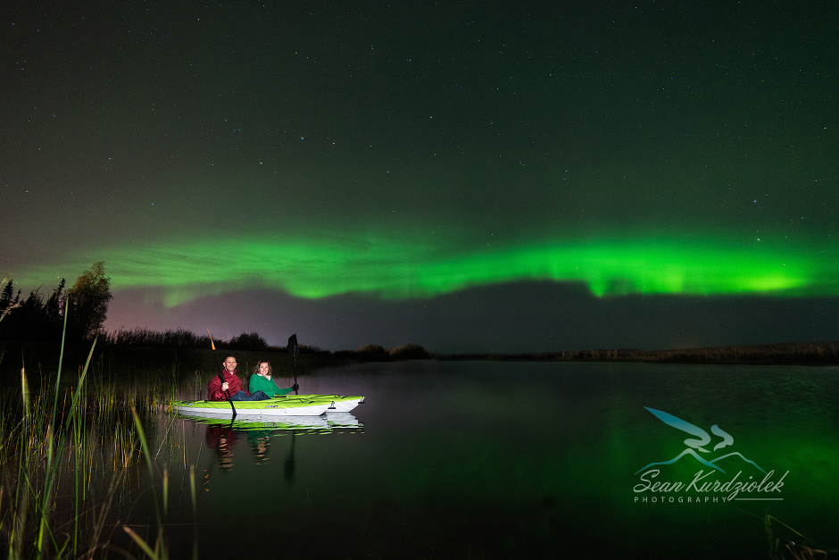 Aurora Portrait photography Kayak Lake Couple Engagement Northern Lights Fairbanks Eielson Air Force Base Alaska