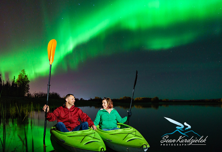 Northern Lights Adventurers photography Kayak Lake Couple Engagement Aurora Fairbanks Eielson Air Force Base Alaska